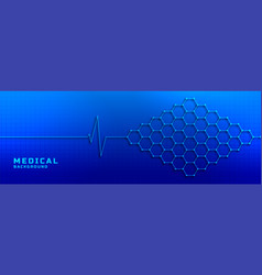 electrocardiogram with molecular structure vector image