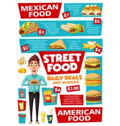 fast food and street food snacks menu vector image