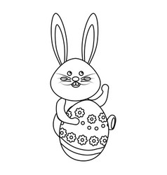 Figure rabbit easter with decorated egg in the vector