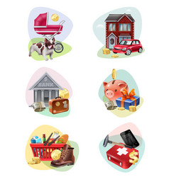 financial expenses icon set vector image