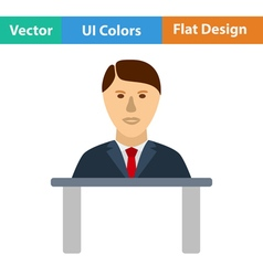 Flat design icon of Businessman avatar on a table vector image