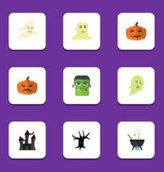 flat icon festival set of magic spirit monster vector image
