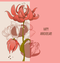 floral greeting card cute flowers anniversary vector image