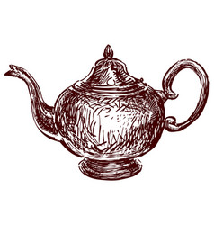 Freehand drawing old metal tea pot vector