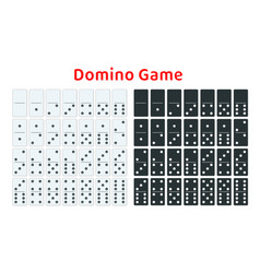 Full set of white and black dominoes isolated on vector