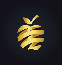 gold apple fruit abstract ribbon fresh logo vector image