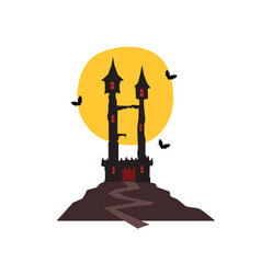 Halloween castle with bats and full moon vector