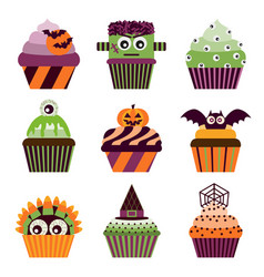 Halloween cupcakes scary sweets set vector