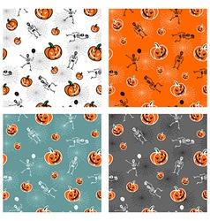 Halloween pumpkins and skeleton backgrounds vector