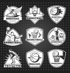 Hand drawn basketball emblems set vector