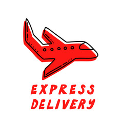 hand drawn icon with bold lettering for courier vector image