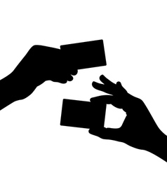 Hand hold a blank card black silhouette vector