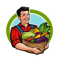 Happy farmer holding wicker basket full of fresh vector