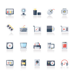Hardware and computer parts icons vector