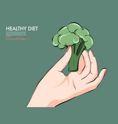 Healthy food nutrition art broccoli in hand keto vector