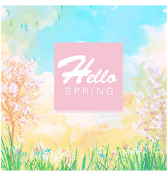 hello spring colorful jungle watercolor background vector image