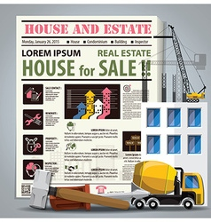 House and estate newspaper lay out vector