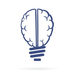 Human brain lightbulb vector
