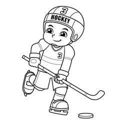 ice hokey player boy ready to shoot bw vector image
