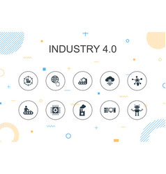 industry 40 trendy infographic template thin vector image