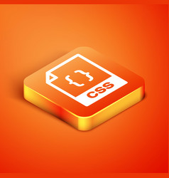 Isometric css file document download css button vector