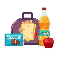 Kids lunch box bag with snacks meal and vector image
