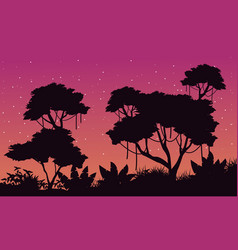 Landscape of jungle with big tree silhouette vector