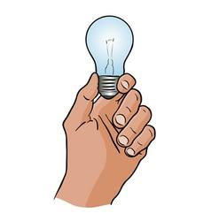Light bulb in hand vector