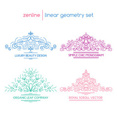 Linear abstract emblems vector