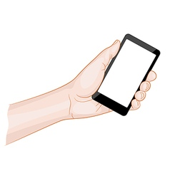 Man hand holding a smartphone with blank screen vector