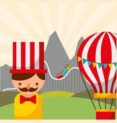 Man hot air balloon and roller coaster carnival vector