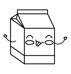 milk box kawaii character vector image