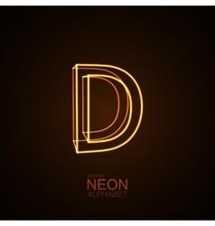 Neon 3d letter d vector