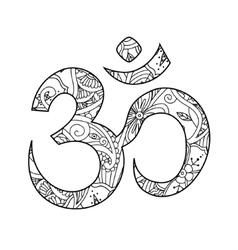 Om or aum sign ornated in henna tatoo mehendi vector