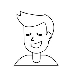 Outlined portrait man smile vector