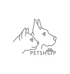 pet shop line drawing shop in line vector image