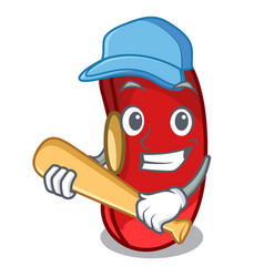 Playing baseball character red beans for cooking vector