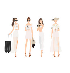 pretty young stylish women wear summer white vector image