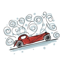 Retro old car sketch for your design vector