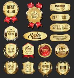 retro vintage golden laurel wreath badge and vector image