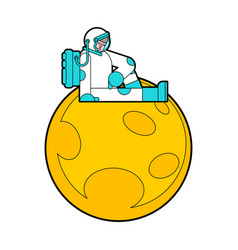 Sad astronaut sitting on moon loneliness in space vector