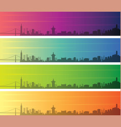 san francisco multiple color gradient skyline vector image
