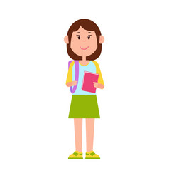 schoolgirl stands with backpack and pink notebook vector image