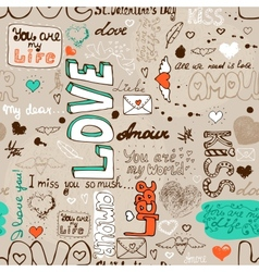 Seamless love letter pattern vector image