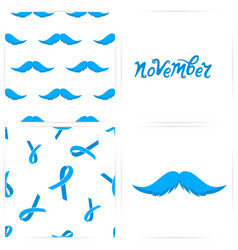 Seamless pattern with mustaches blue ribbons the vector