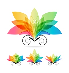 Set color art flowers vector