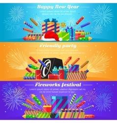 Set fireworks different kinds firecrackers vector