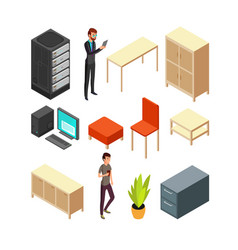 Set of office isometric icons server rack table vector