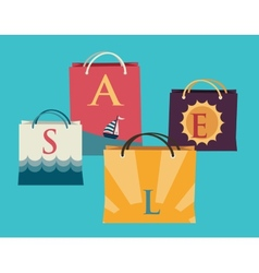 Shopping bags with the word sale on them and vector