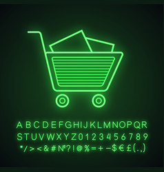Shopping cart with boxes neon light icon vector